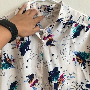 Vintage abstract wave print button down blouse